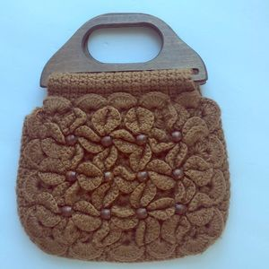 Vintage Brown Crocheted and Beaded Bag